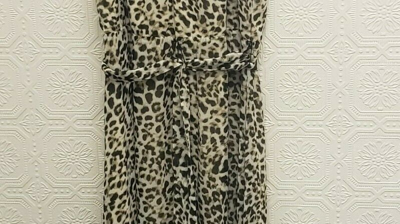 Calvin Klein Animal Pattern High Waist A-Line Sheath Halter Maxi Dress
