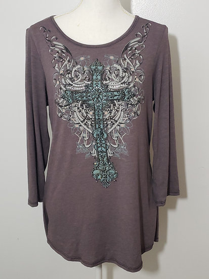 Cowgirls & Diamonds Brown Bling Front Long Sleeve Scoop Back Top