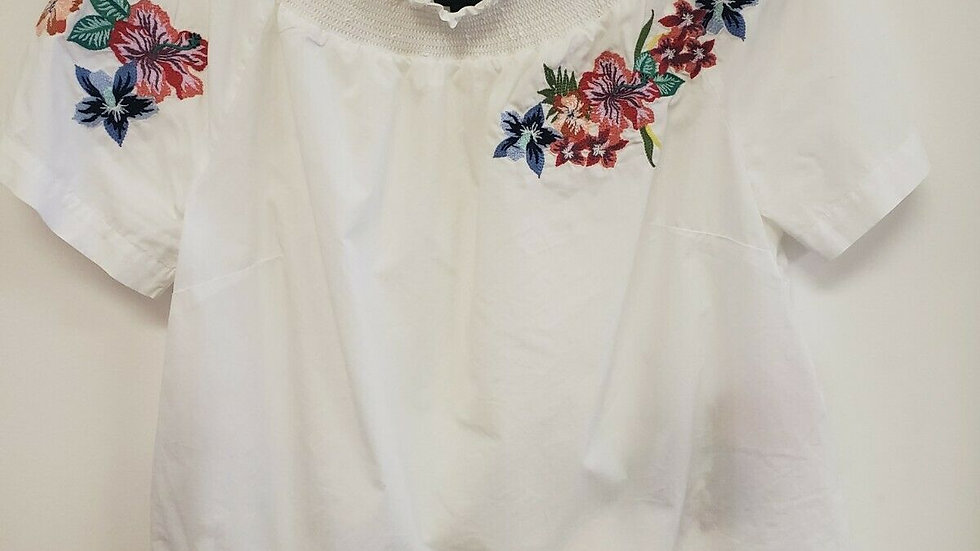 Talbot's White Floral Embroider Smocked Neck Short Sleeve Cotton Top
