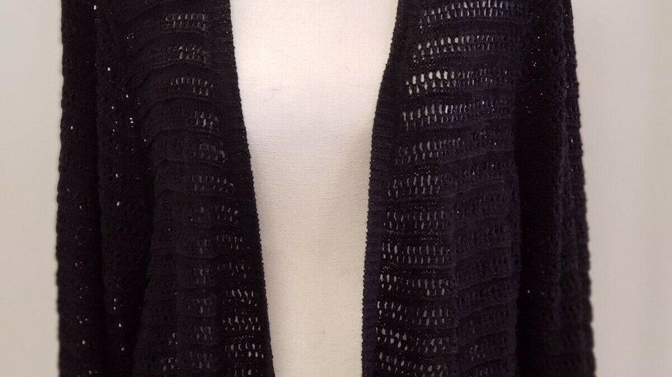 Calvin Klein Black Open Front Crochet Style Long Sleeve Short Cardigan