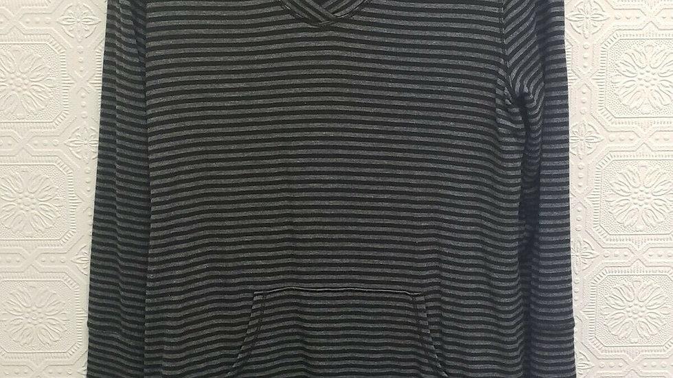 Soma Black Grey Stripe V Neck Long Sleeve Loungewear Top with Pocket