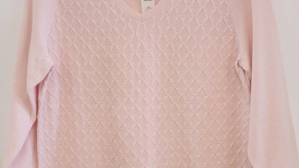 Talbots Pink V Neck Long Sleeve Argyle Pattern Cotton Top Sweater