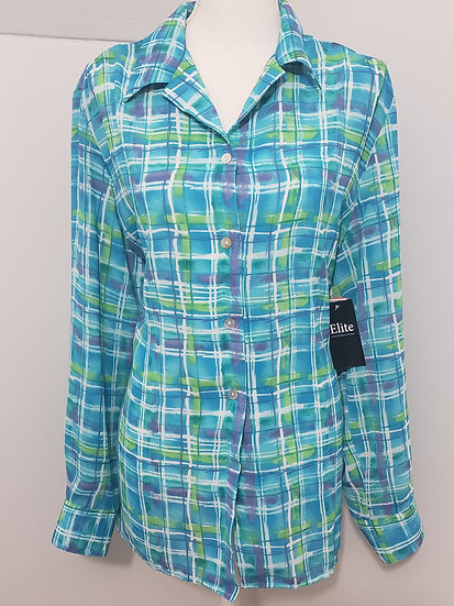Studio Marisa Christina Blue Plaid Button Front Collared Long Sleeve Top