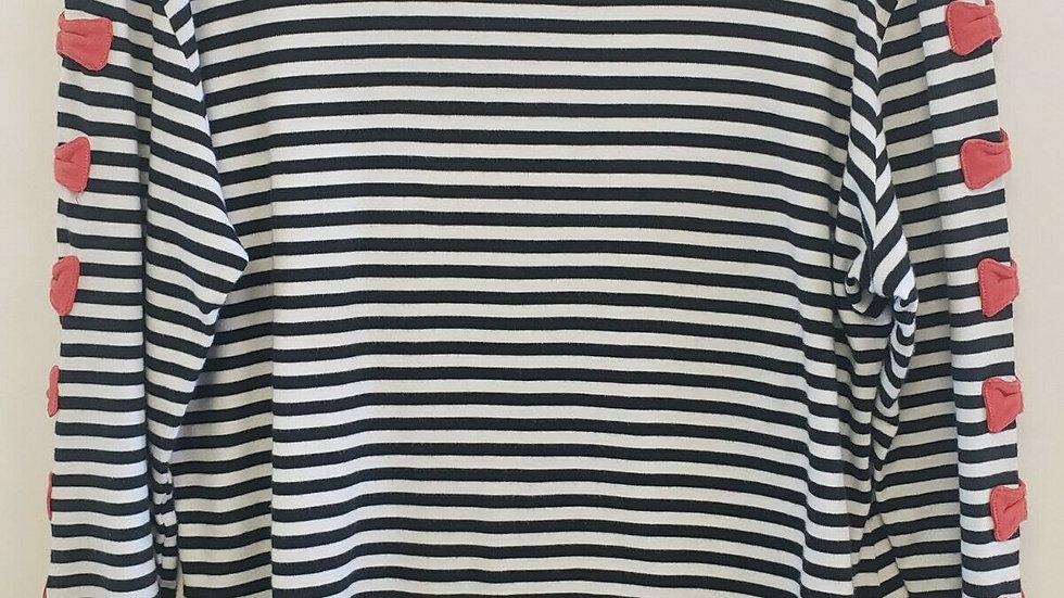 Debra C. Beverly Hills Stripe Red Bow Accent Long Sleeve Cotton Top