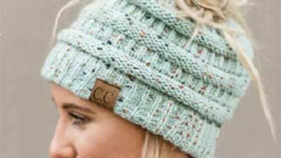 CC Beanietail Messy High Bun Ponytail Stretchy Knit Beanie Skull Hat