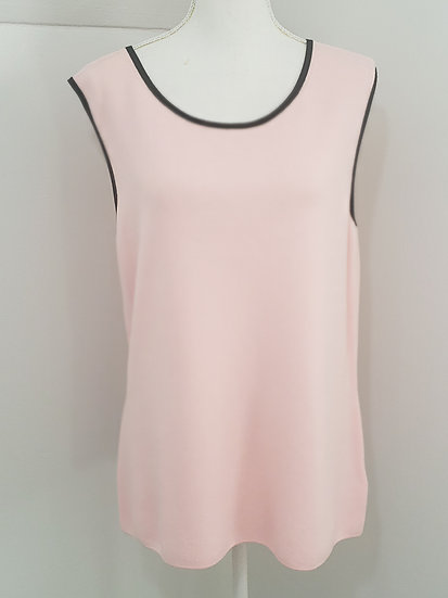 Talbots Pink W/ Black Trim Round Neck Sleeveless Knit Top