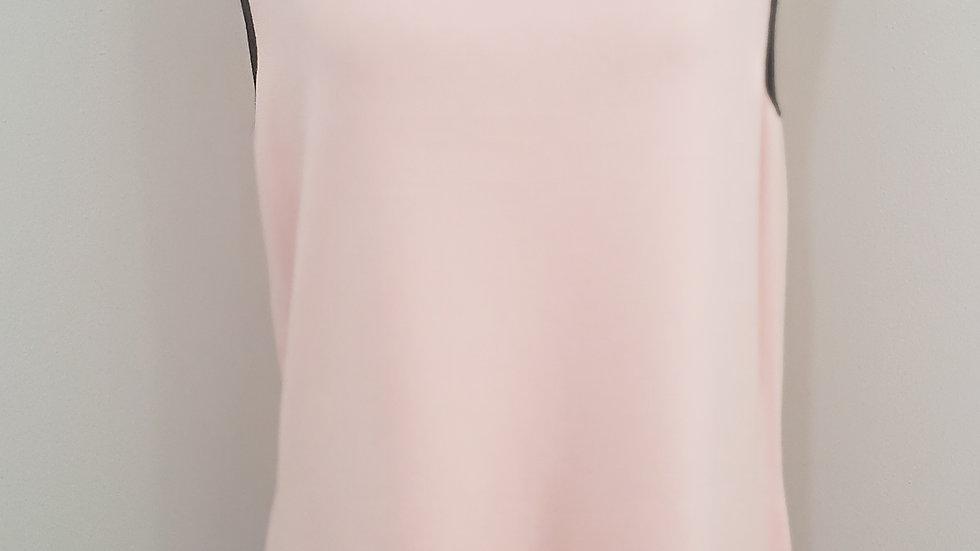 Talbots Pink W/ Black Trim Round Neck Sleeveless Knit Top