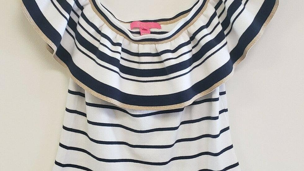 Lilly Pulitzer Blue White Stripe Off Shoulder Cotton Top