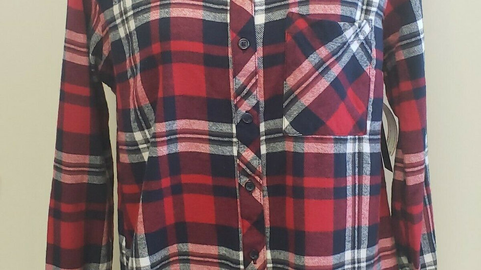 Woolrich Red Blue Plaid Flannel Button Front Long Sleeve Top
