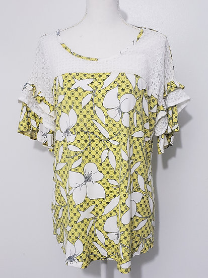 Cato White Yellow Floral Round Neck Ruffled Short Sleeve Lace Detail Top