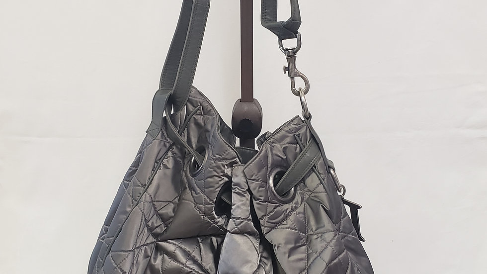 Christian Dior Quilted Cannage Drawstring Hobo Bag Purse Metallic Olive Green