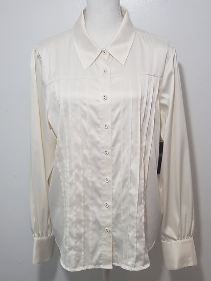 Susan Graver Ivory Button Front Collared Box Pleated Long Cuffed Sleeve Blouse