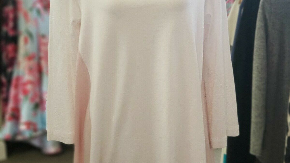 Ladies JIL SANDER Pink White Oversized Round Neck Long Sleeve Cotton Top Large