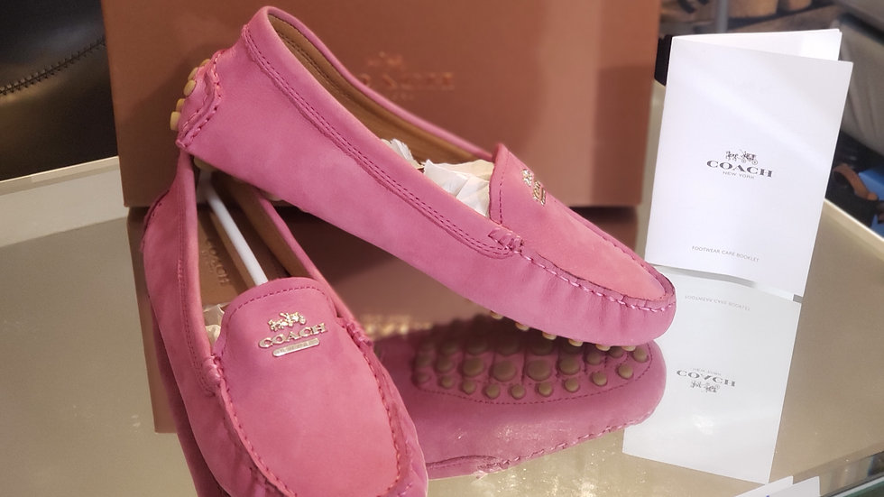 COACH Nancy Nubuck Loafer Fuschia Pink (Coach Q 6359) New In Box