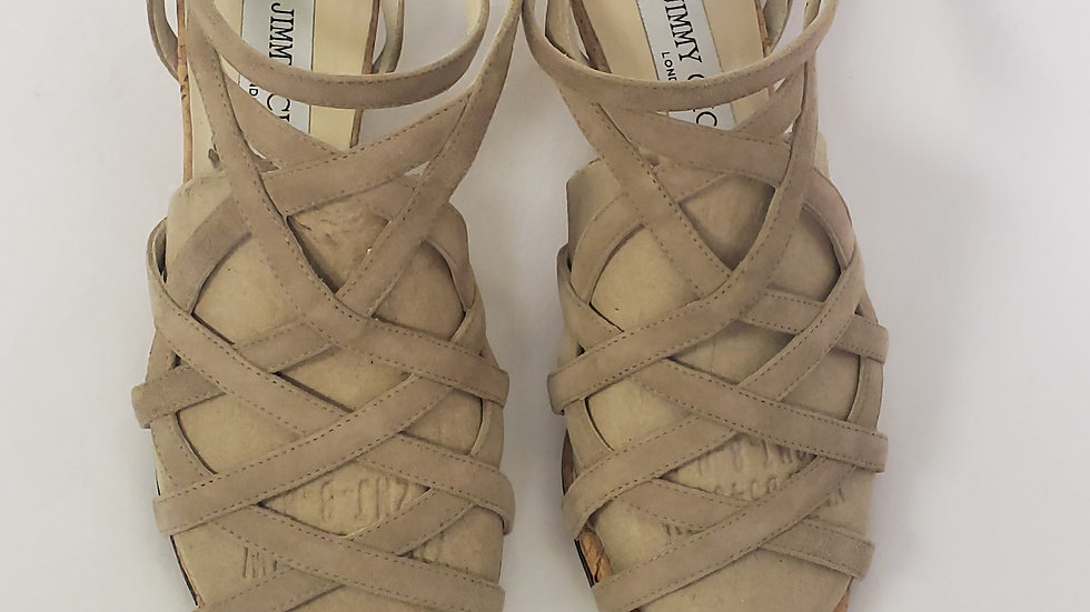 Jimmy Choo Suede Strappy Cork Wedge Sandals Warm Nude Size 36
