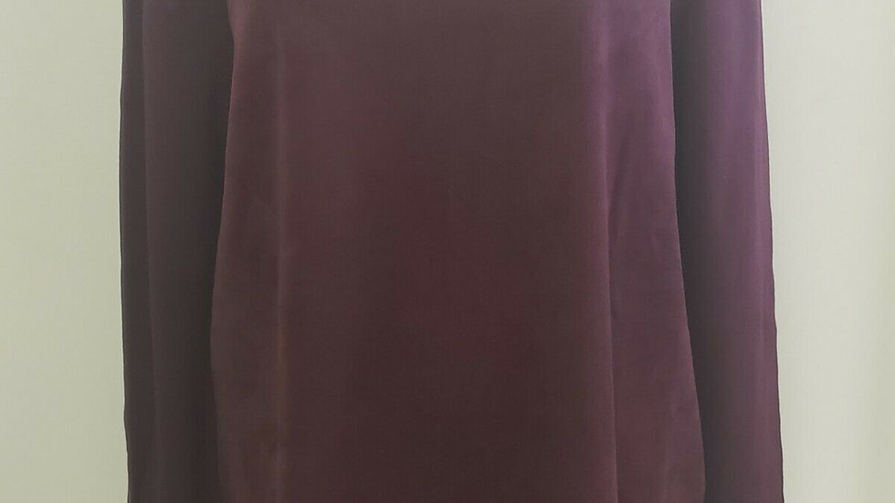 Chico's Wine Round Neck Long Sleeve Faux Suede Panel Top