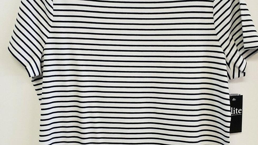 Talbots White Black Striped Square Neck Short Sleeve Perfect Tee
