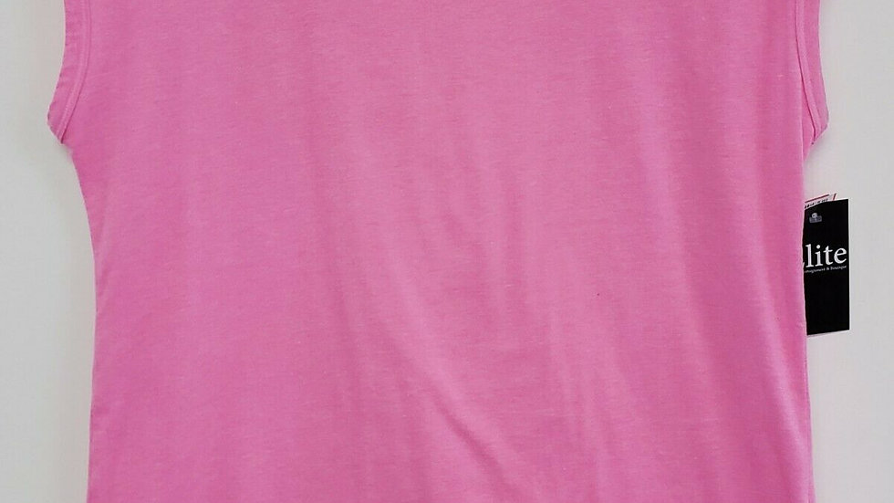 T by Talbots Pink Round Neck Cap Sleeve Pleated Back Cotton Tee