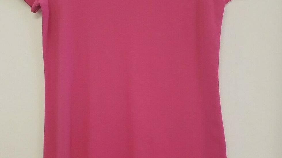 Talbots Pink Round Neck Short Sleeve Cotton Shirt Dress w/ Zipper Accents
