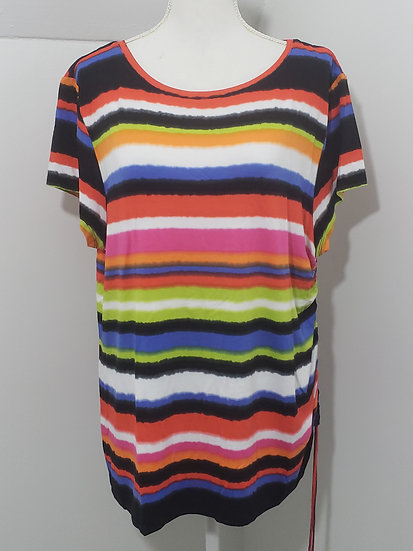 Ruby Rd Favorites Multicolor Stripe Round Neck Short Sleeve Top