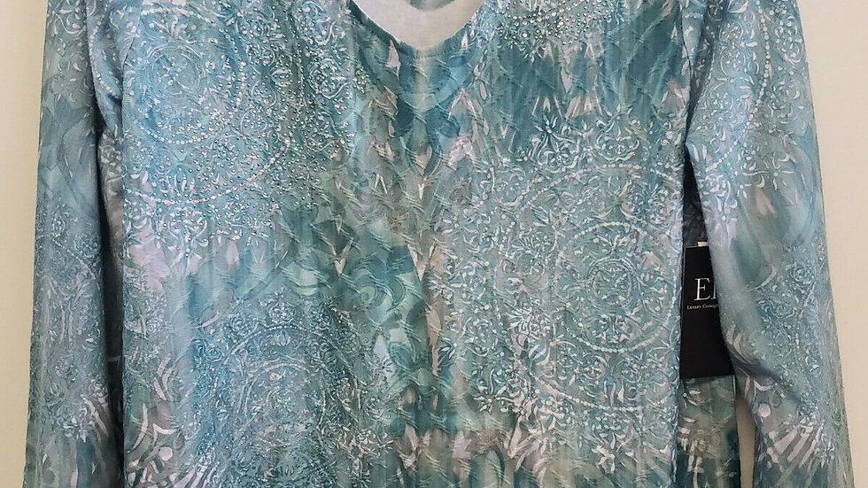 Zenergy by Chico's Green Medallion V Neck Long Sleeve Bling Top