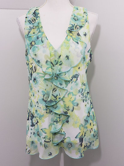 By & By Green Floral V Neck Ruffle Trim Sleeveless Lace Backing Top Blouse