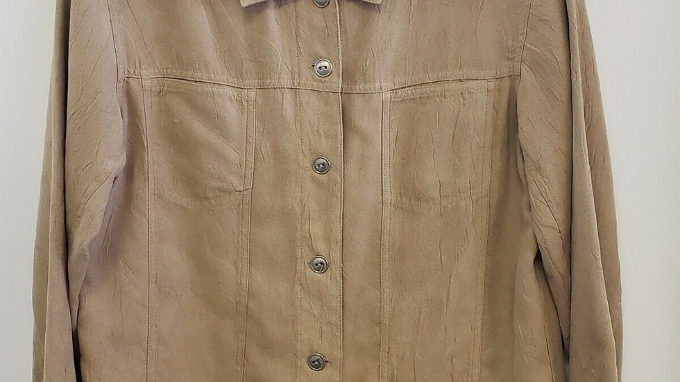 Chico's Faux Suede Tan Button Front Collared Long Sleeve Top Jacket