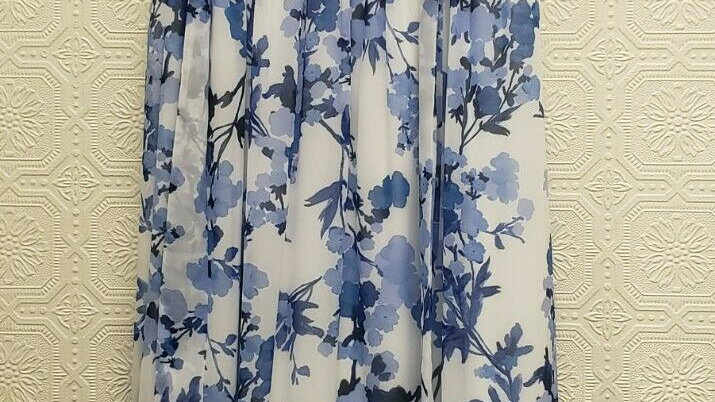 Jessica Howard White Blue Floral Belted Round Neck Lined Sheath Maxi Dress
