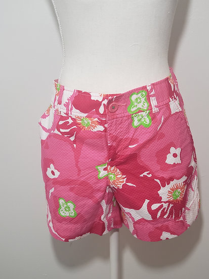 Lilly Pulitzer Pink Hibiscus Callahan Short with Pockets Cotton