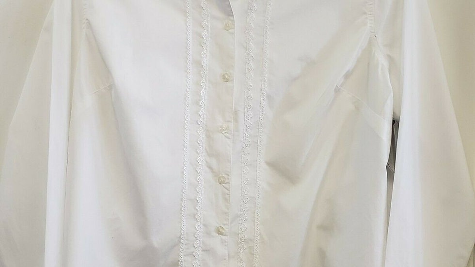 Liz Claiborne White Button Front Long Sleeve Ruffle Lace Accent Top