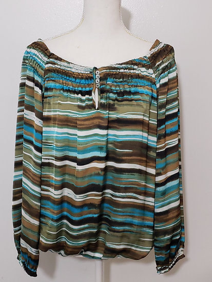 New Direction Multicolor Sateen Smocked Neckline Long Sleeve Top