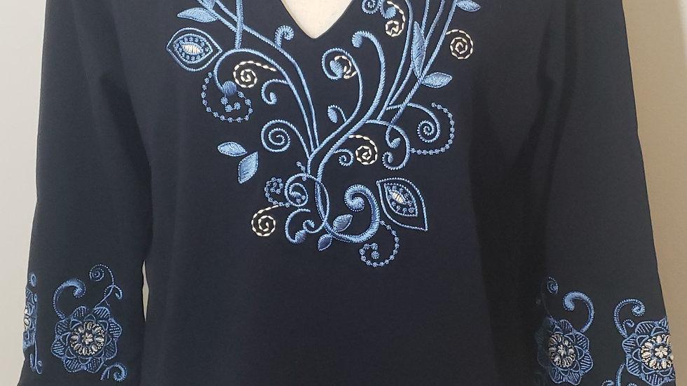 Talbots Navy Blue V Neck Floral Embroider 3/4 Sleeve Cotton Top