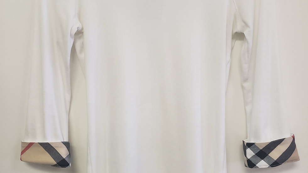 BURBERRY LONDON Women's White Nova Cuffed Check Long Sleeve Top