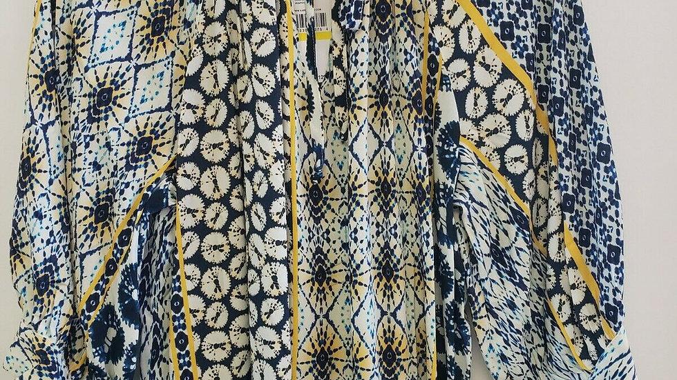 Karen Kane Yellow Blue Riviera Peasant Long Sleeve Round Neck Top