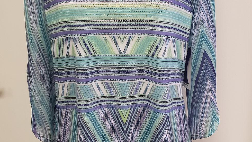 Chico's Green/ Purple Chevron Bling V Neck 3/4 Flutter Sleeve Top