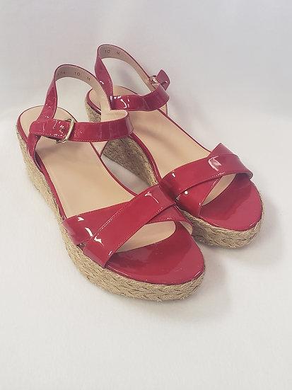 Stuart Weitzman Red Patent Leather Espadrille Side Buckle Sandal