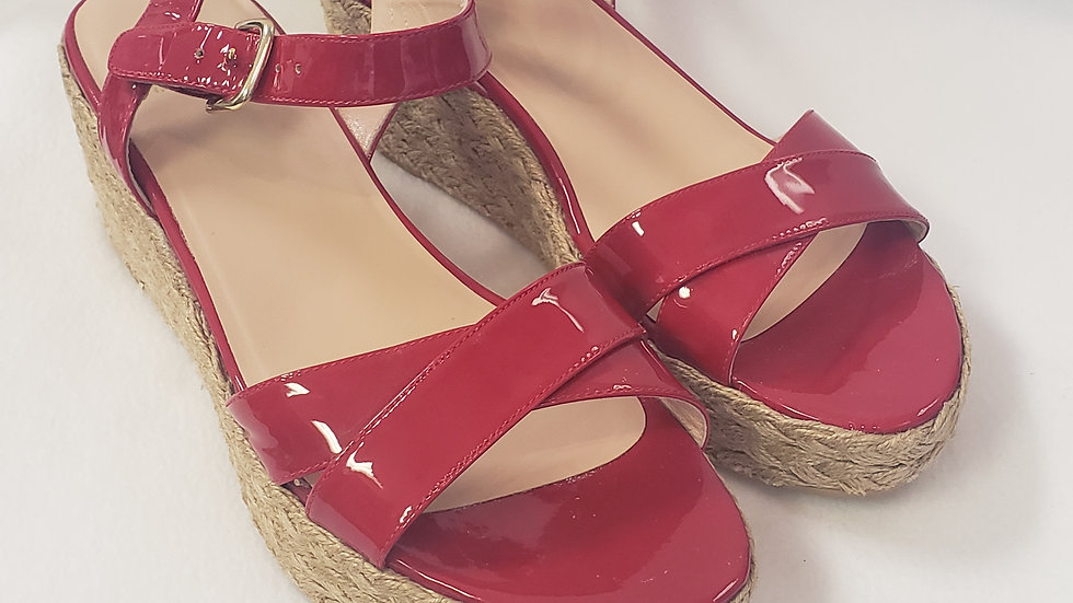 Stuart Weitzman Red Patent Leather Espadrille Side Buckle Sandal