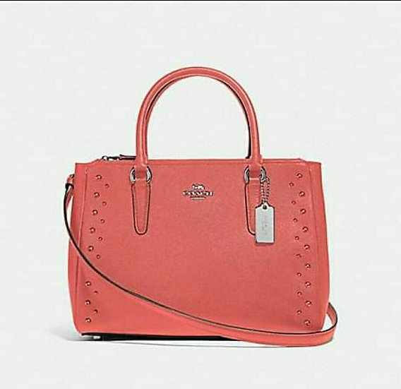 Coach F55600 Surrey Carryall with Studs Summer Coral/ Silver 3 Gusset
