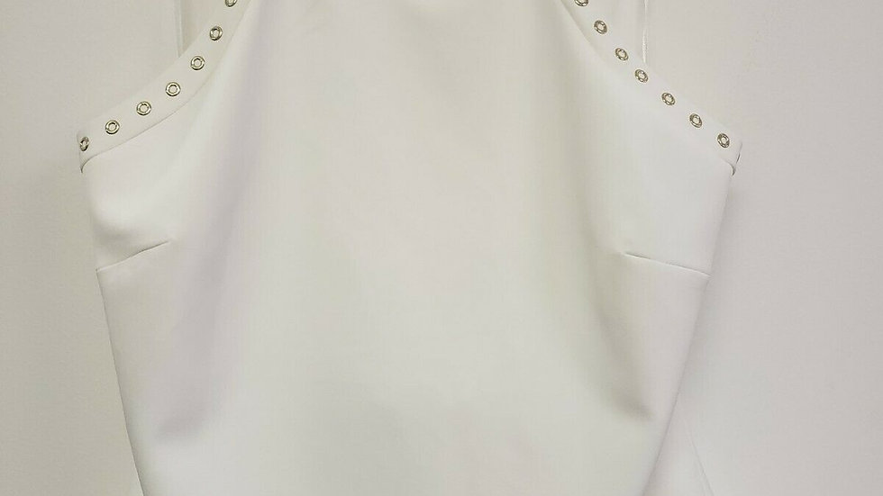 Badgley Mischka White Gold Grommet Strappy Back Top