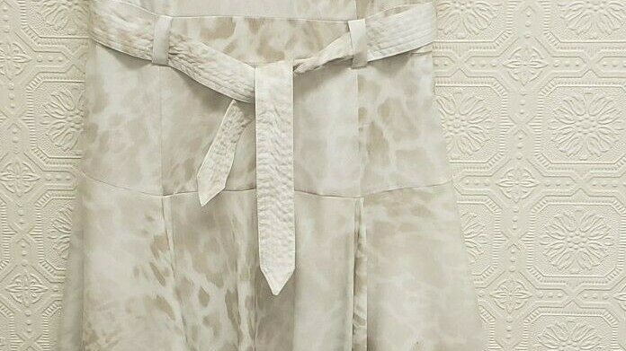 Calvin Klein Ivory Animal Pattern Belted Asymmetrical Hem Sleeveless Sheath Dres