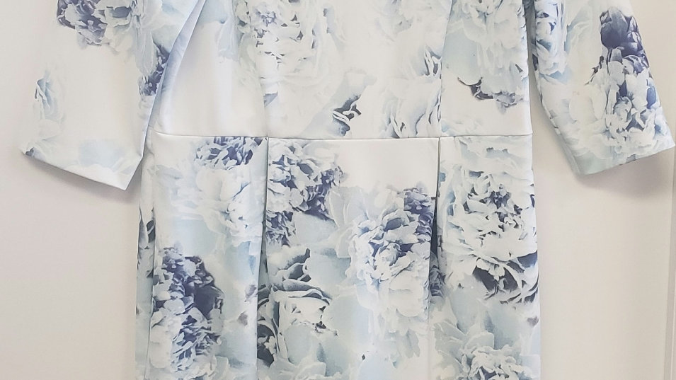 Autograph Cream Blue Floral A-Line Knee Length Round Neck Dress Size 14