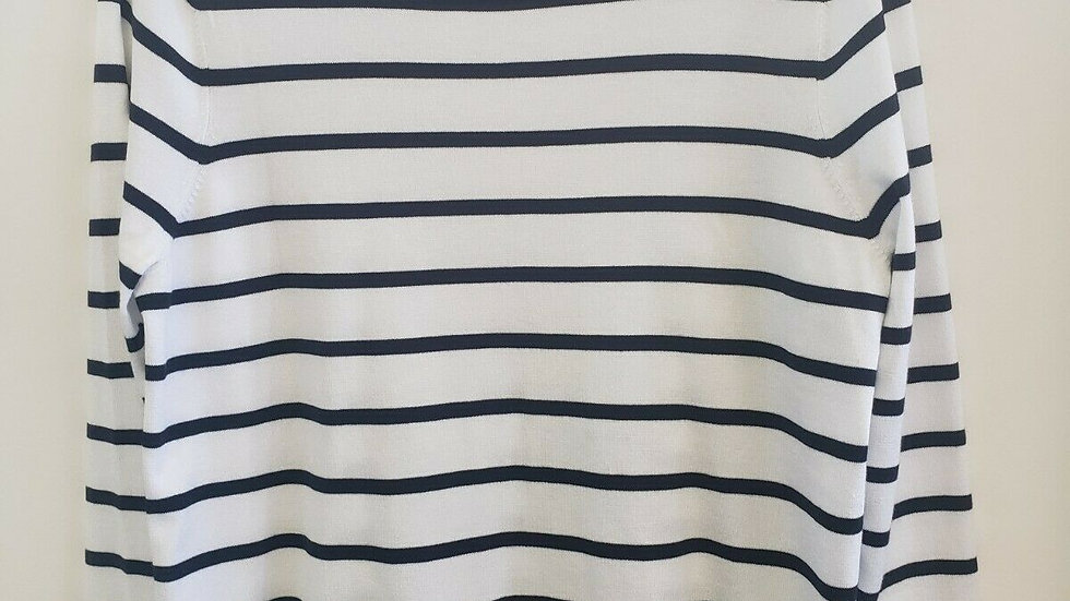 Chico's White Blue Striped Round Neck Long Sleeve Top