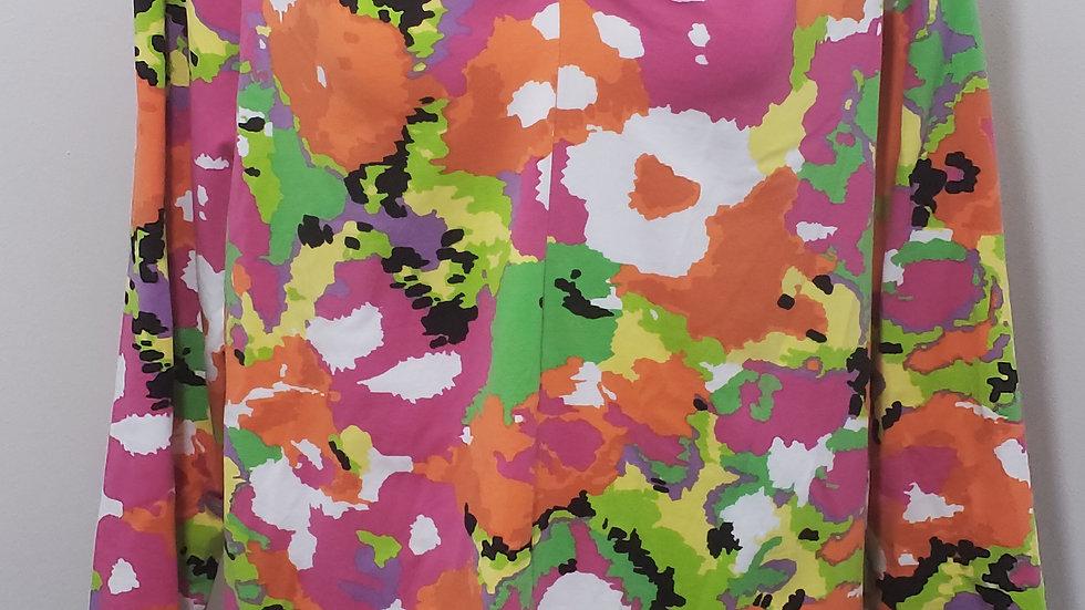 A' La Carte Multicolor V Neck 3/4 Sleeve Floral Pattern Top
