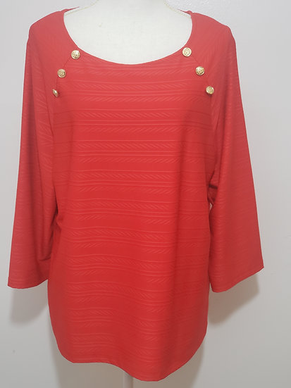 Easywear by Chico's Red Round Neck Textured 3/4 Sleeve Blouse