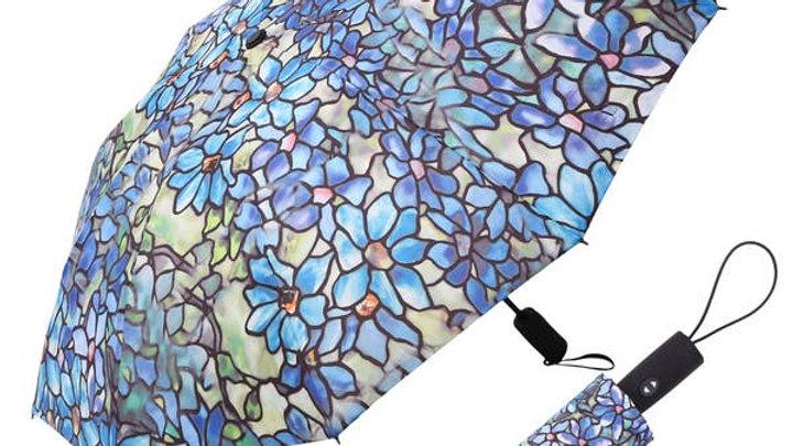 RainCaper Tiffany Clematis Folding Travel Umbrella