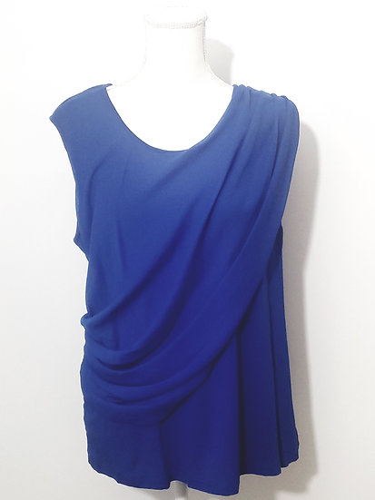 Vince Camuto Blue Round Neck Side Ruch Sleeveless Top