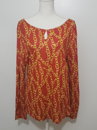 Talbots Red Chain Motif Round Neck Peep Hole Long Sleeve Top