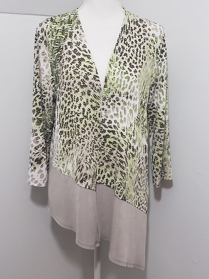 Travelers by Chico's Brown/Green Open Front Mixed Animal Pattern Long Sleeve