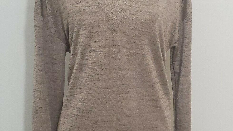 Halston Rose Gold Dropped Shoulder w/ Ribbed Trim V Neck Long Sleeve Top