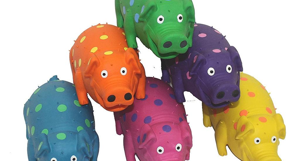 """9"""" Latex Polka Dot Globlet Pig Dog Toy"""
